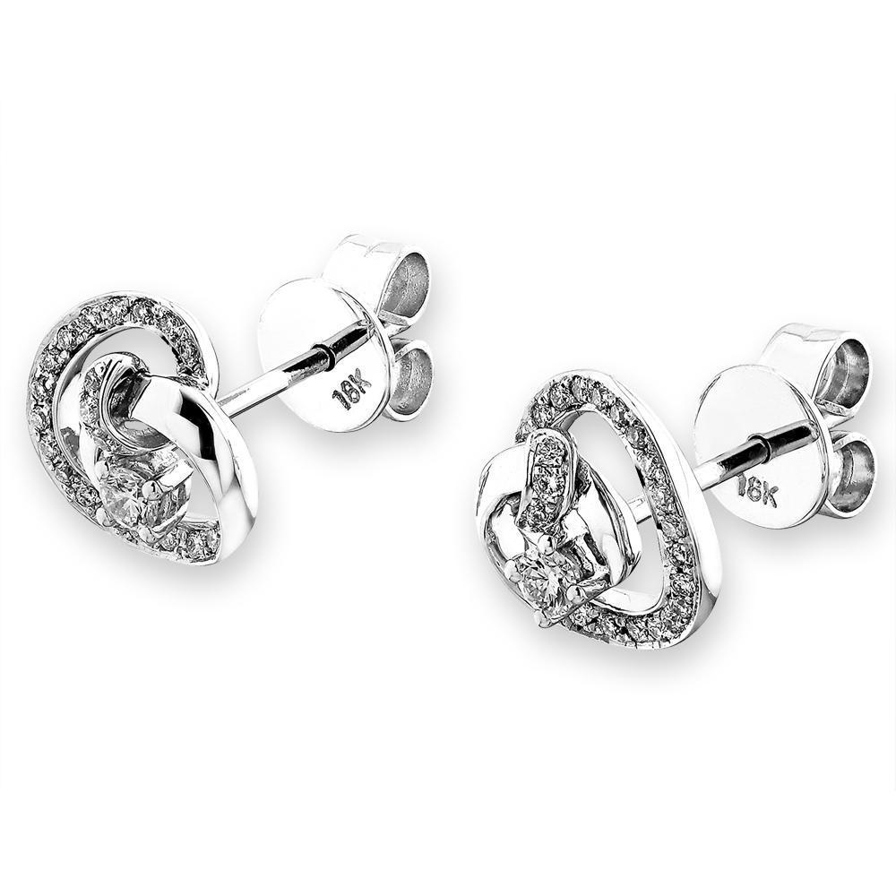 Infinite Ribbons Earrings in 18k White Gold with Diamonds (0.203ct) Earrings IAD