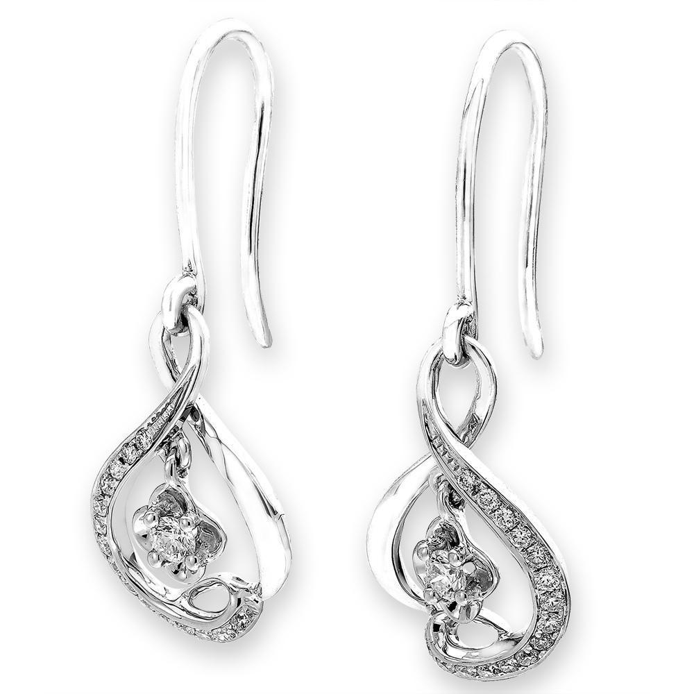 Infinite Ribbons Earrings in 18k White Gold with Diamonds (0.215ct) Earrings IAD