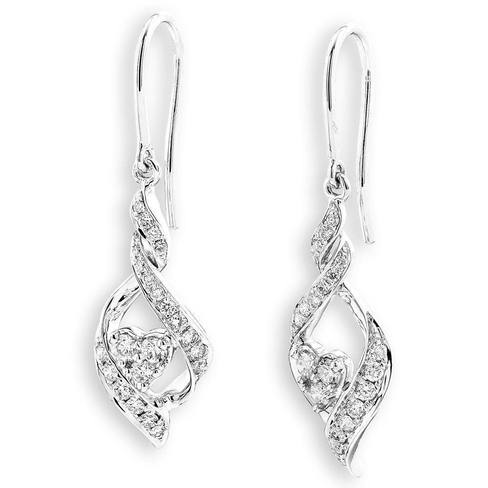 Infinite Ribbons Earrings in 18k White Gold with Diamonds (0.417ct) Earrings IAD
