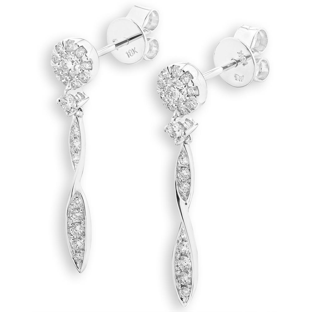 Infinite Ribbons Earrings in 18k White Gold with Diamonds (0.604ct) Earrings IAD