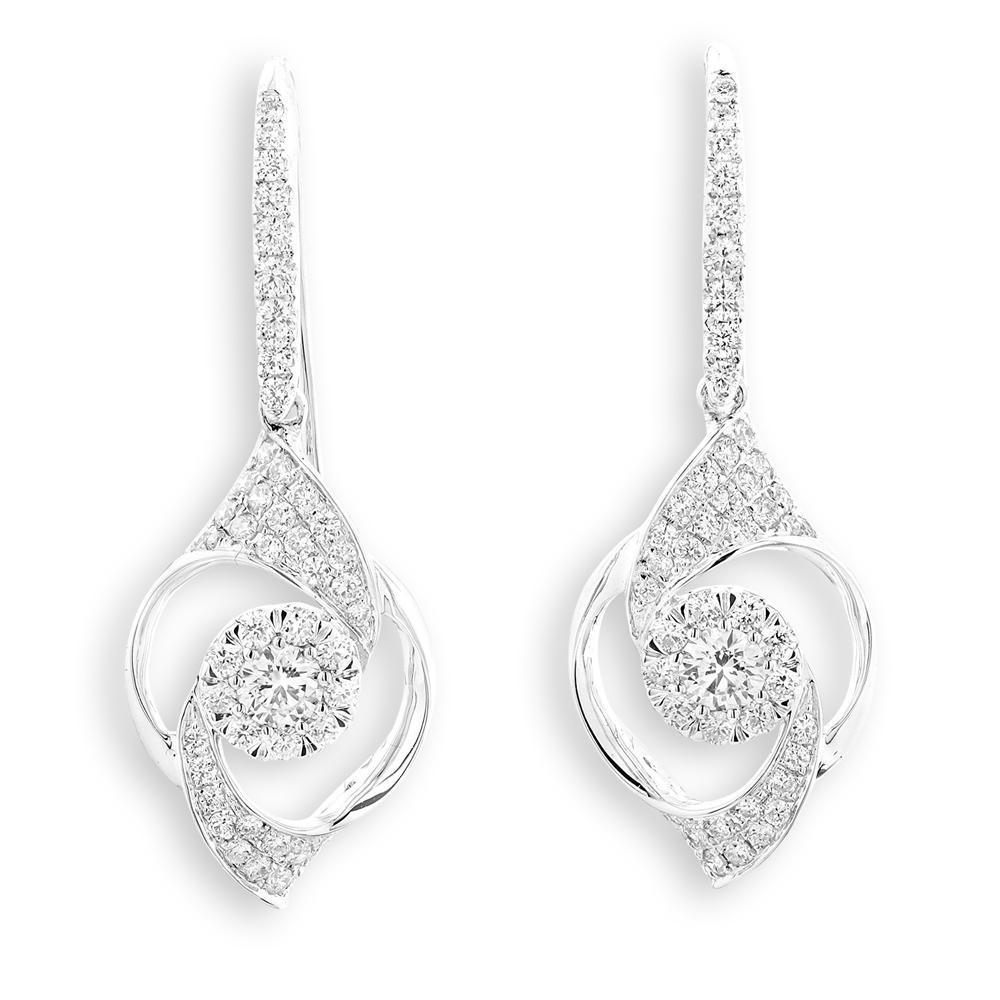 Infinite Ribbons Earrings in 18k White Gold with Diamonds (0.845ct) Earrings IAD