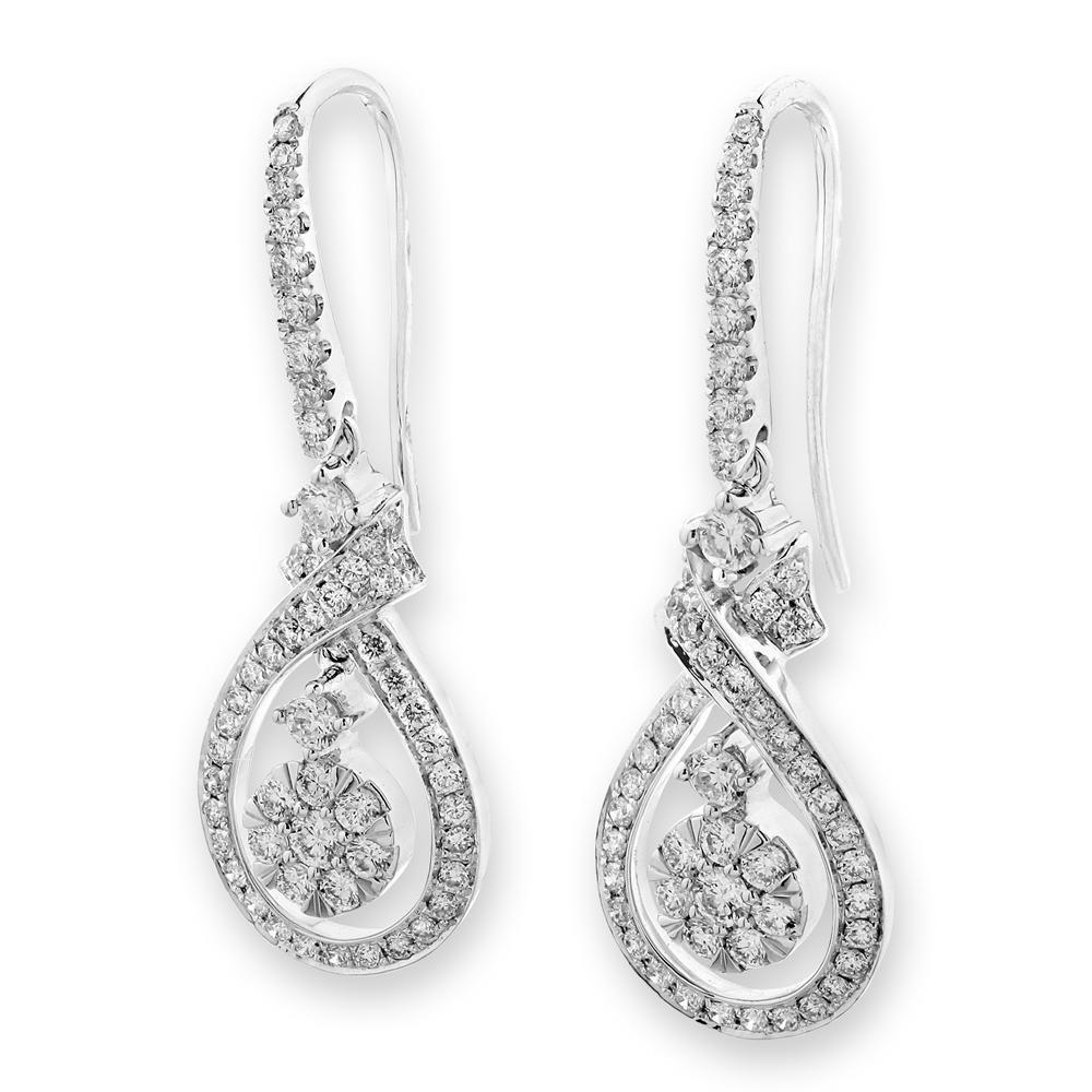 Infinite Ribbons Earrings in 18k White Gold with Diamonds (0.932ct) Earrings IAD