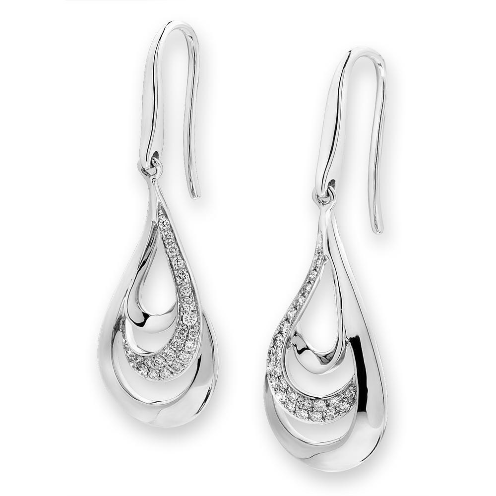 Infinite Ribbons Earrings in 18k Yellow & White Gold with Diamonds (0.164ct) Earrings IAD