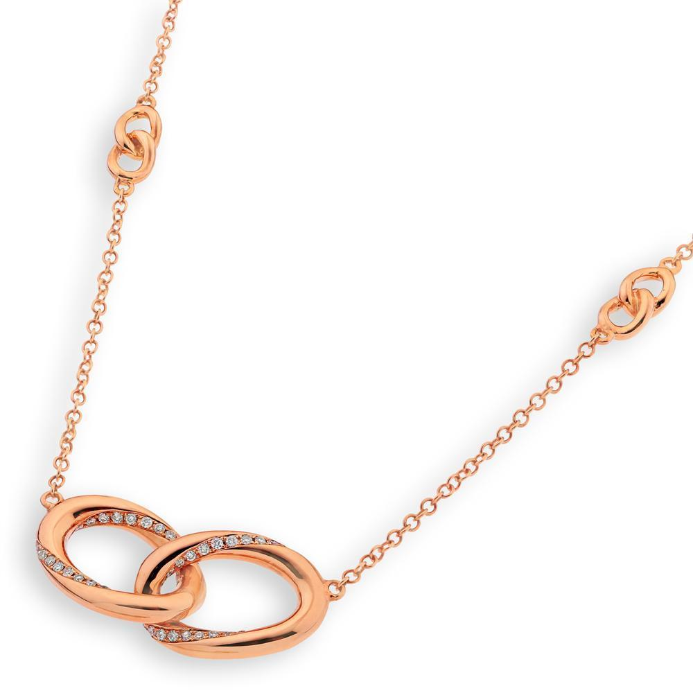 Infinite Ribbons Necklace in 18k Rose Gold with Diamonds (0.167ct) Necklace IAD