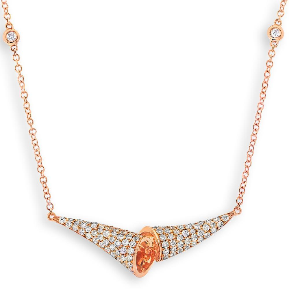 Infinite Ribbons Necklace in 18k Rose Gold with Diamonds (0.637ct) Necklace IAD