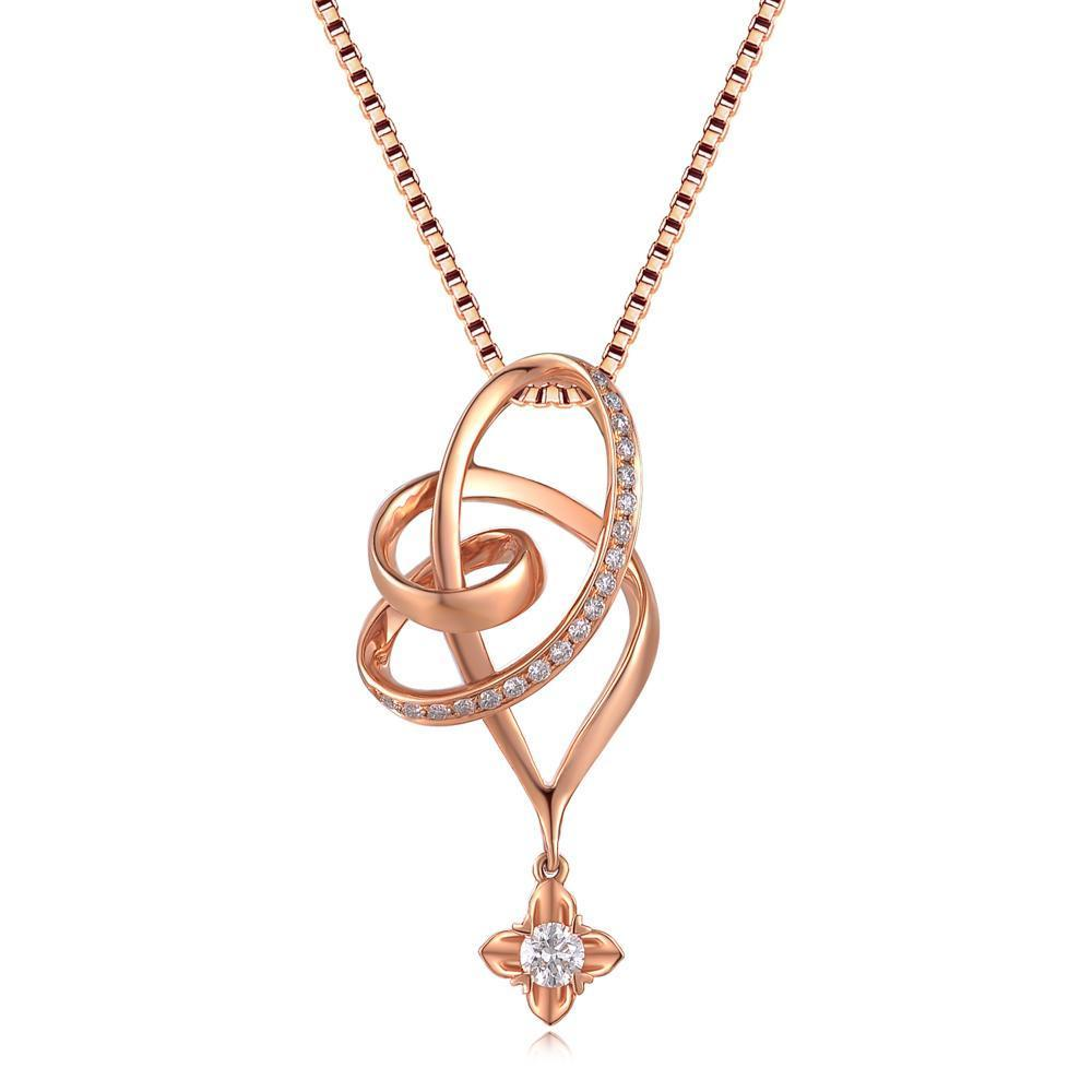 Infinite Ribbons Pendant in 18k Rose Gold with Diamonds (0.19ct) Pendant IAD