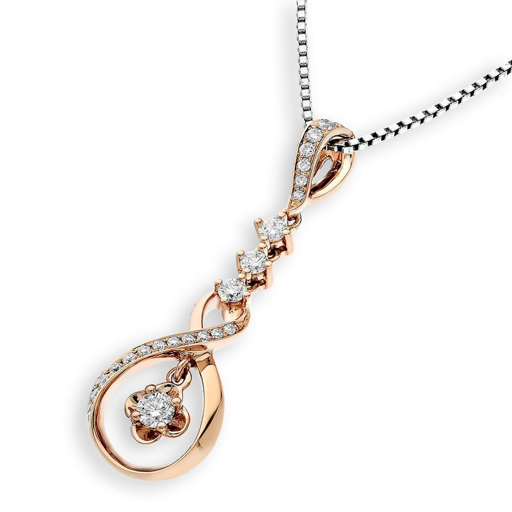 Infinite Ribbons Pendant in 18k Rose Gold with Diamonds (0.255ct) Pendant IAD