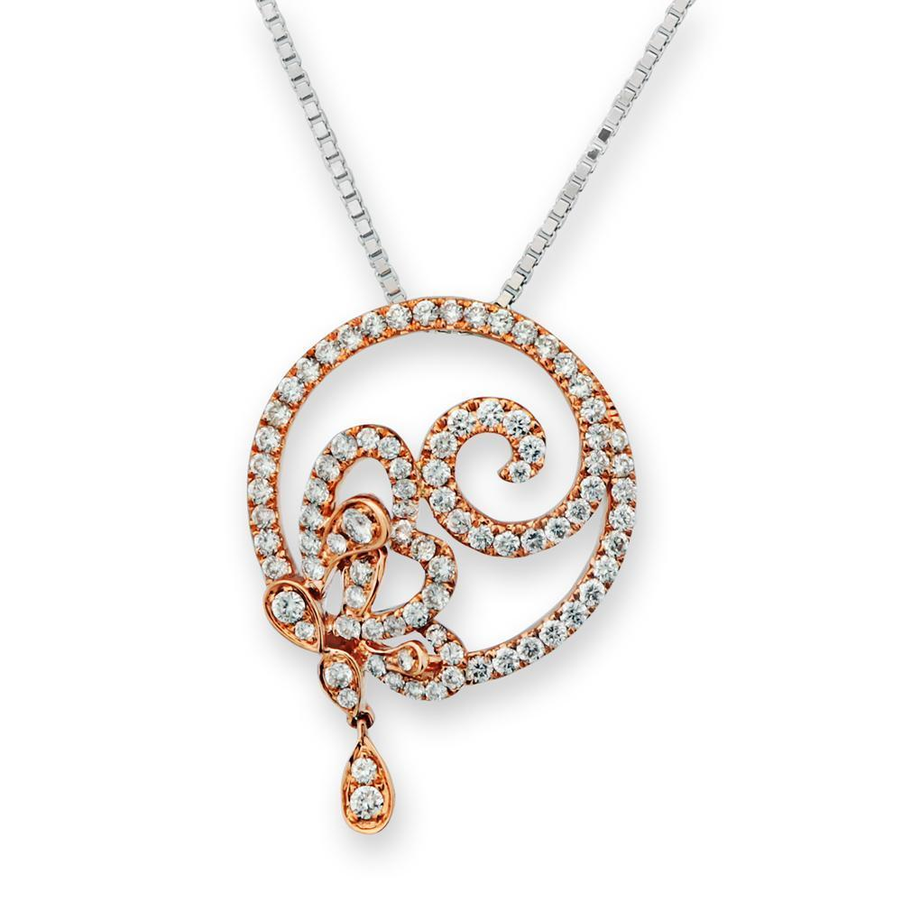 Infinite Ribbons Pendant in 18k Rose Gold with Diamonds (0.607ct) Pendant IAD