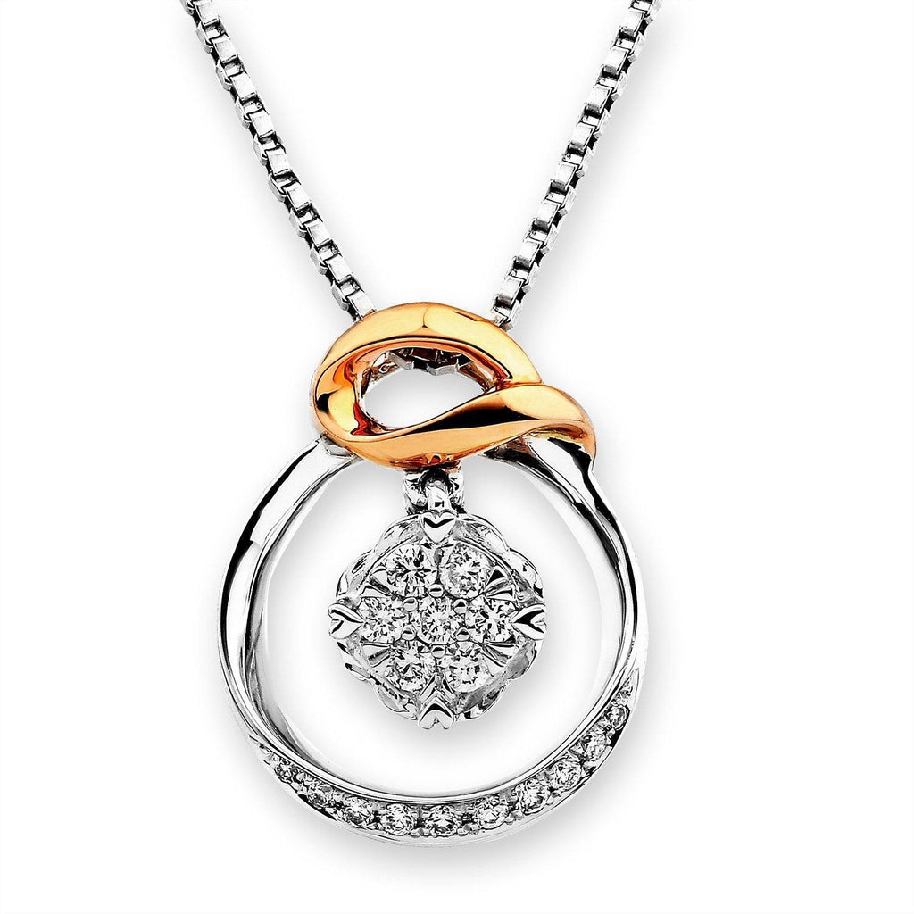 Infinite Ribbons Pendant in 18k Rose & White Gold with Diamonds (0.135ct) Pendant IAD