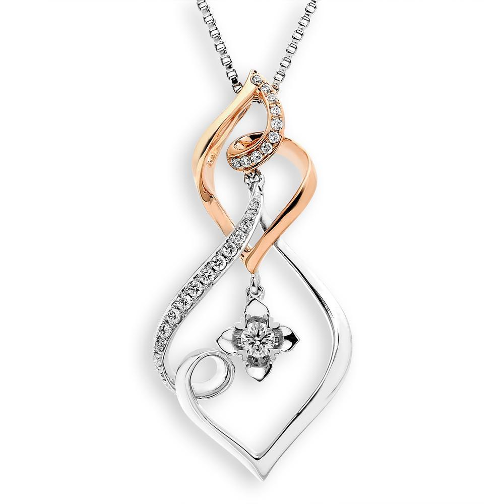 Infinite Ribbons Pendant in 18k Rose & White Gold with Diamonds (0.165ct) Pendant IAD