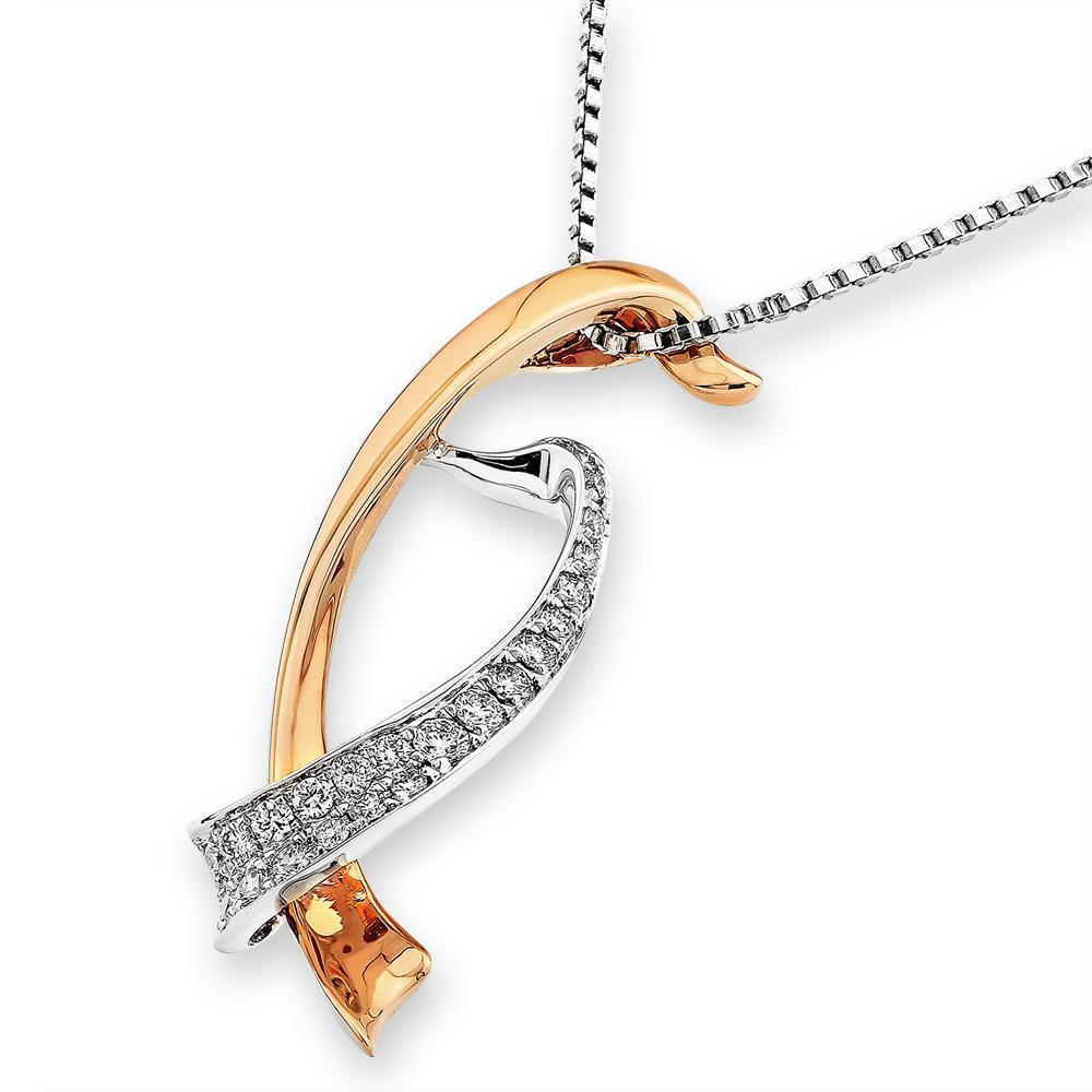 Infinite Ribbons Pendant in 18k Rose & White Gold with Diamonds (0.178ct) Pendant IAD