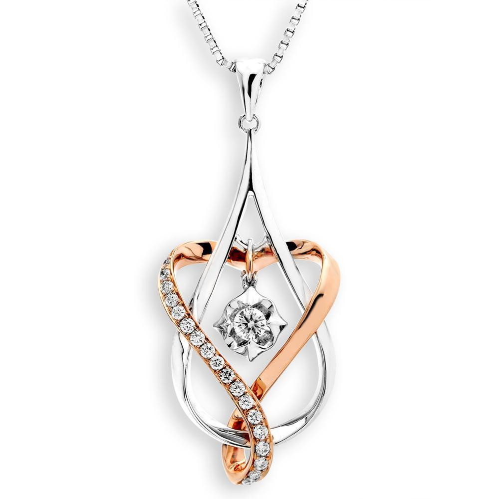 Infinite Ribbons Pendant in 18k Rose & White Gold with Diamonds (0.195ct) Pendant IAD
