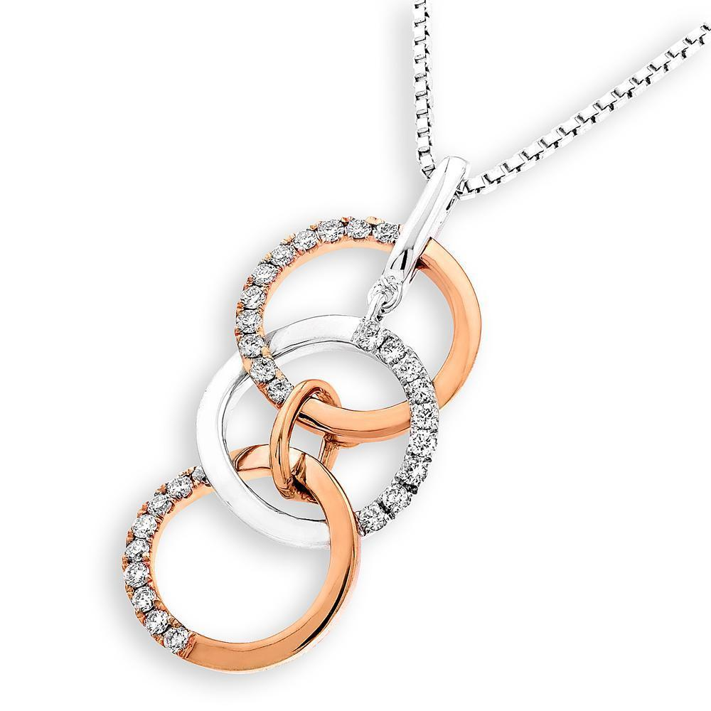 Infinite Ribbons Pendant in 18k Rose & White Gold with Diamonds (0.201ct) Pendant IAD