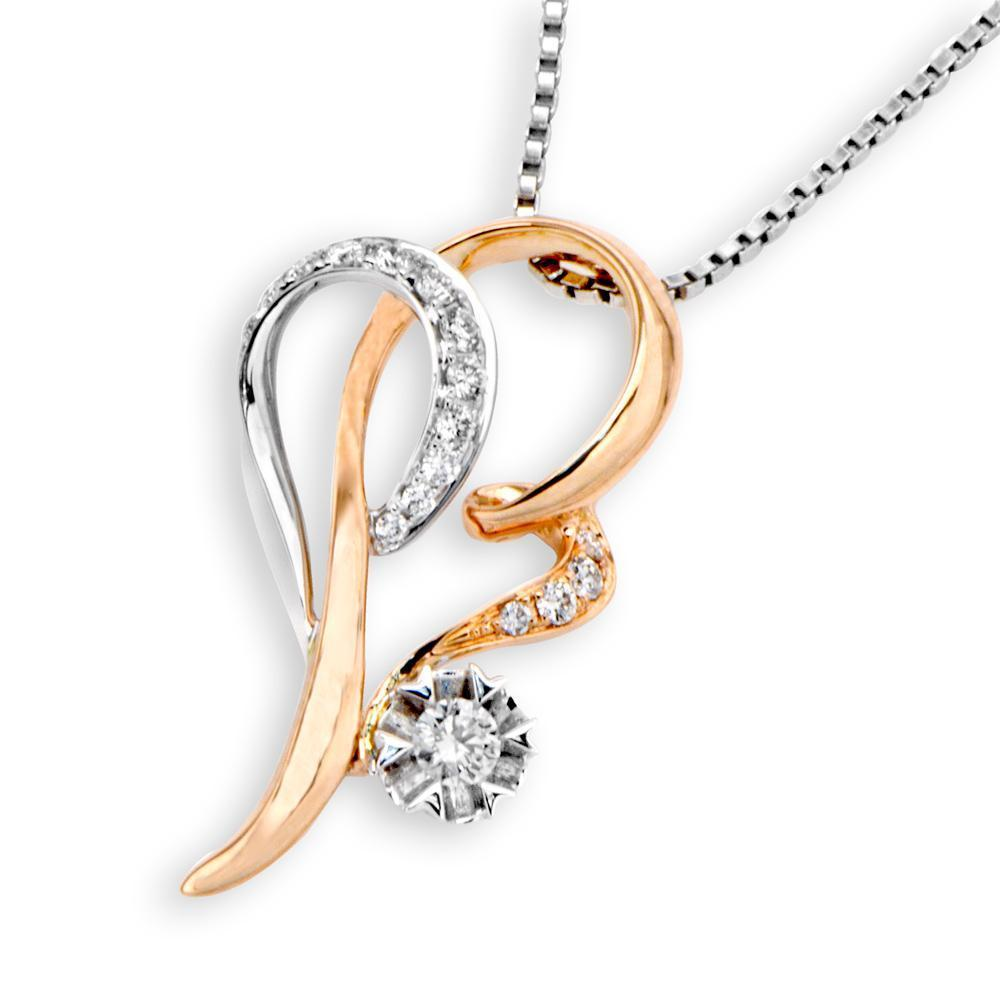 Infinite Ribbons Pendant in 18k Rose & White Gold with Diamonds (0.202ct) Pendant IAD