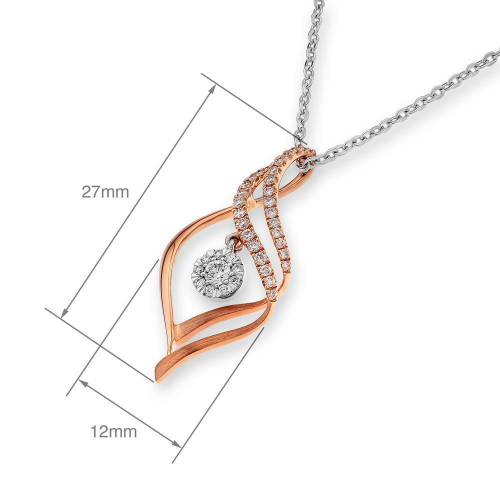 Infinite Ribbons Pendant in 18k Rose & White Gold with Diamonds (0.251ct) Pendant IAD