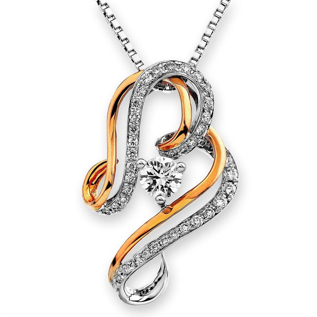 Infinite Ribbons Pendant in 18k Rose & White Gold with Diamonds (0.334ct) Pendant IAD