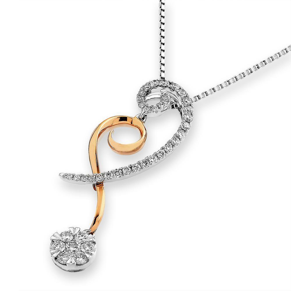 Infinite Ribbons Pendant in 18k Rose & White Gold with Diamonds (0.425ct) Pendant IAD