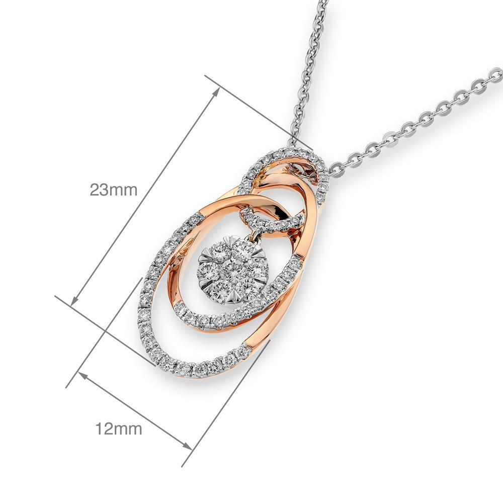 Infinite Ribbons Pendant in 18k Rose & White Gold with Diamonds (0.427ct) Pendant IAD