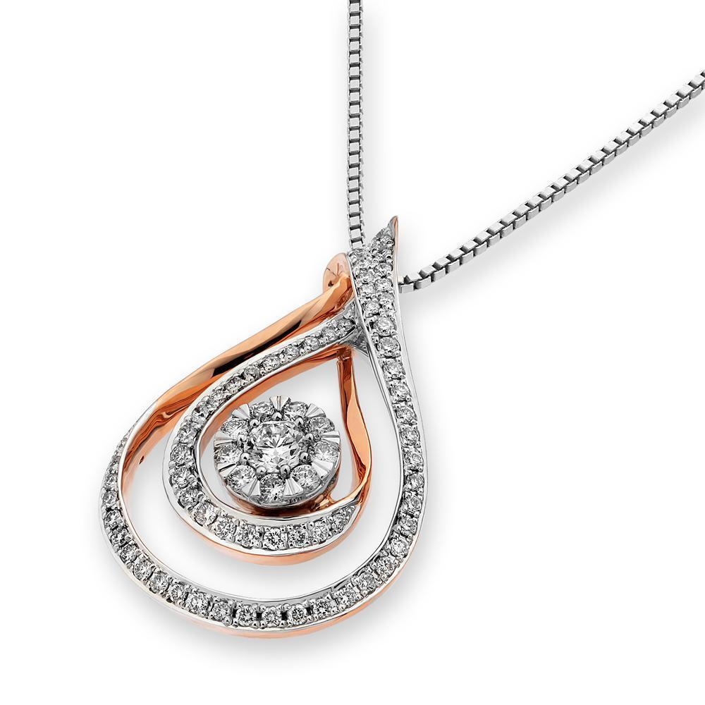 Infinite Ribbons Pendant in 18k Rose & White Gold with Diamonds (0.478ct) Pendant IAD