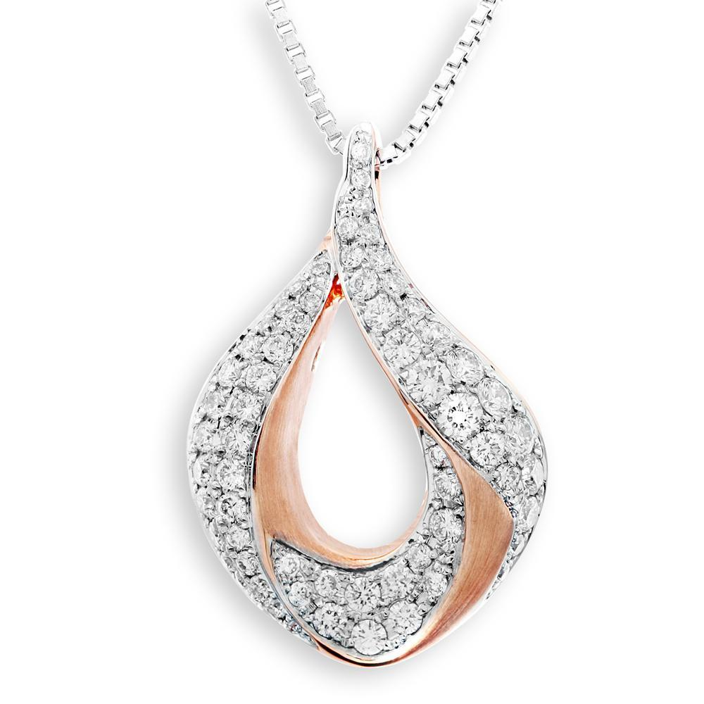 Infinite Ribbons Pendant in 18k Rose & White Gold with Diamonds (0.52ct) Pendant IAD