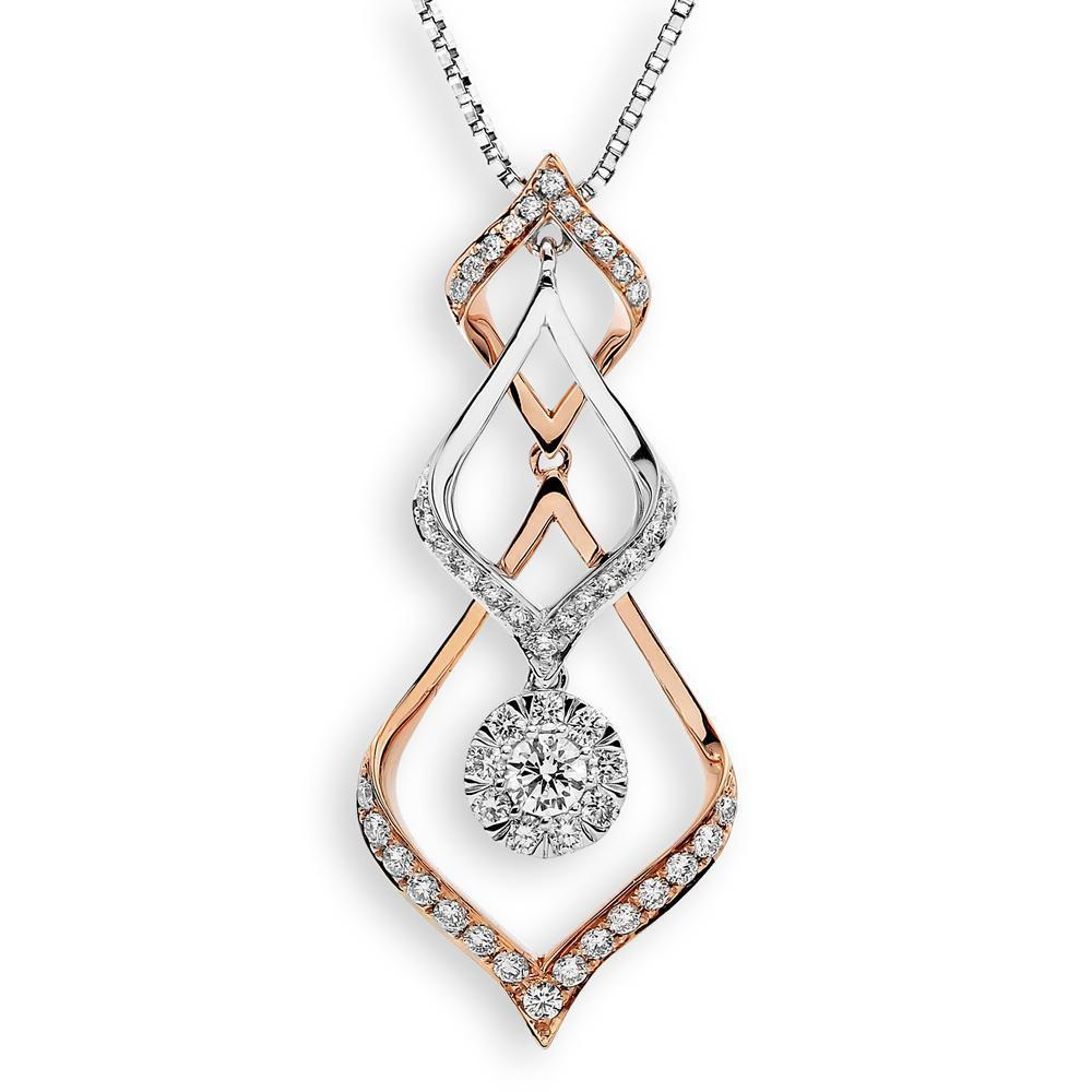 Infinite Ribbons Pendant in 18k Rose & White Gold with Diamonds (0.539ct) Pendant IAD