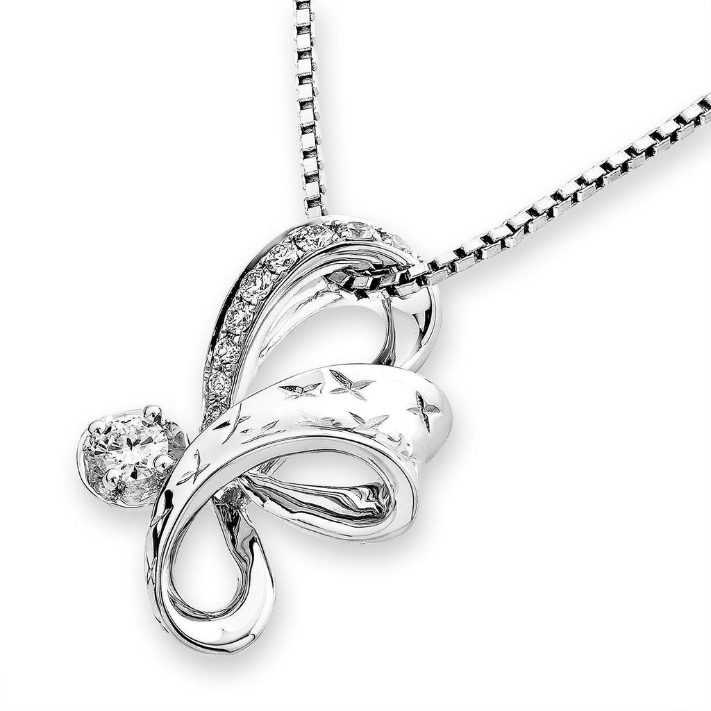 Infinite Ribbons Pendant in 18k White Gold with Diamonds (0.151ct) Pendant IAD