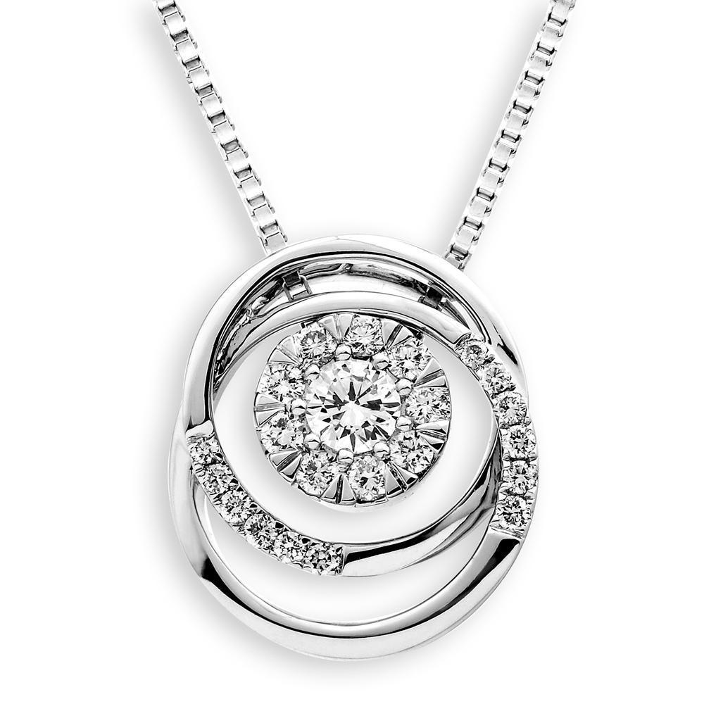 Infinite Ribbons Pendant in 18k White Gold with Diamonds (0.269ct) Pendant IAD