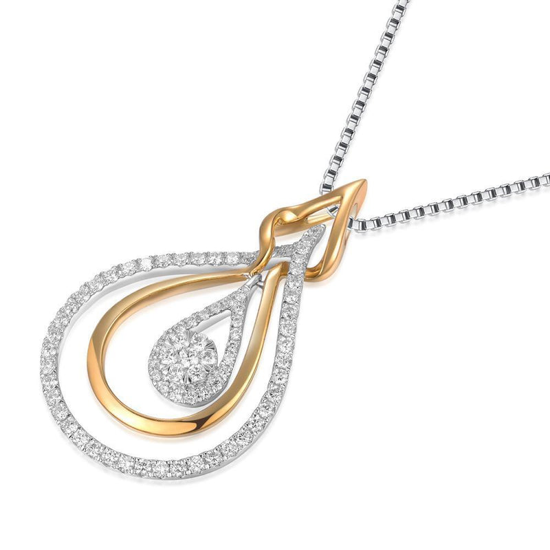 Infinite Ribbons Pendant in 18k Yellow & White Gold with Diamonds (0.554ct) Pendant IAD