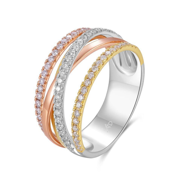 Infinite Ribbons Ring in 18k Rose, Yellow & White Gold with Diamonds (0.49ct) Ring IAD
