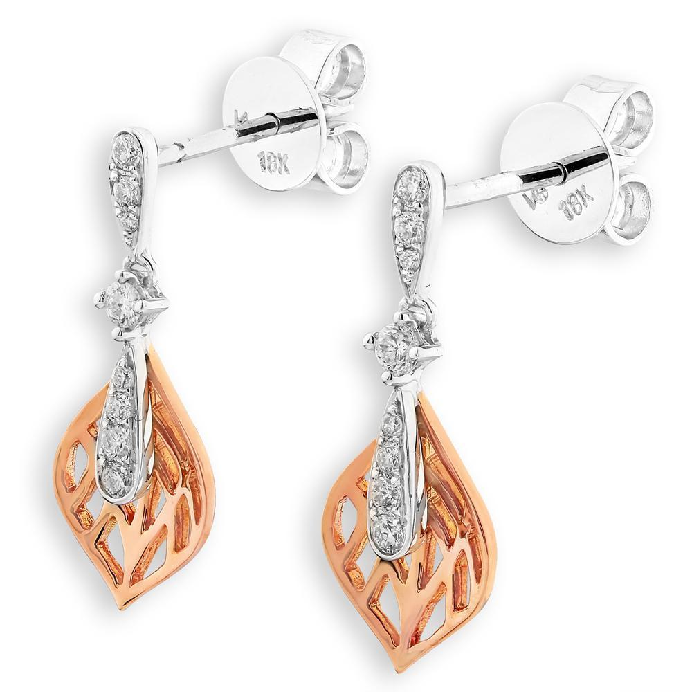 Leaf Earrings in 18k Rose & White Gold with Diamonds (0.162ct) Earrings IAD