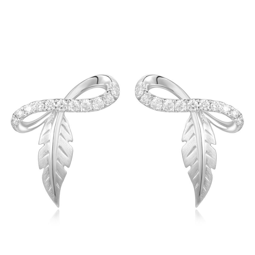 Leaf Earrings in 18k White Gold with Diamonds (0.23ct) Earrings IAD
