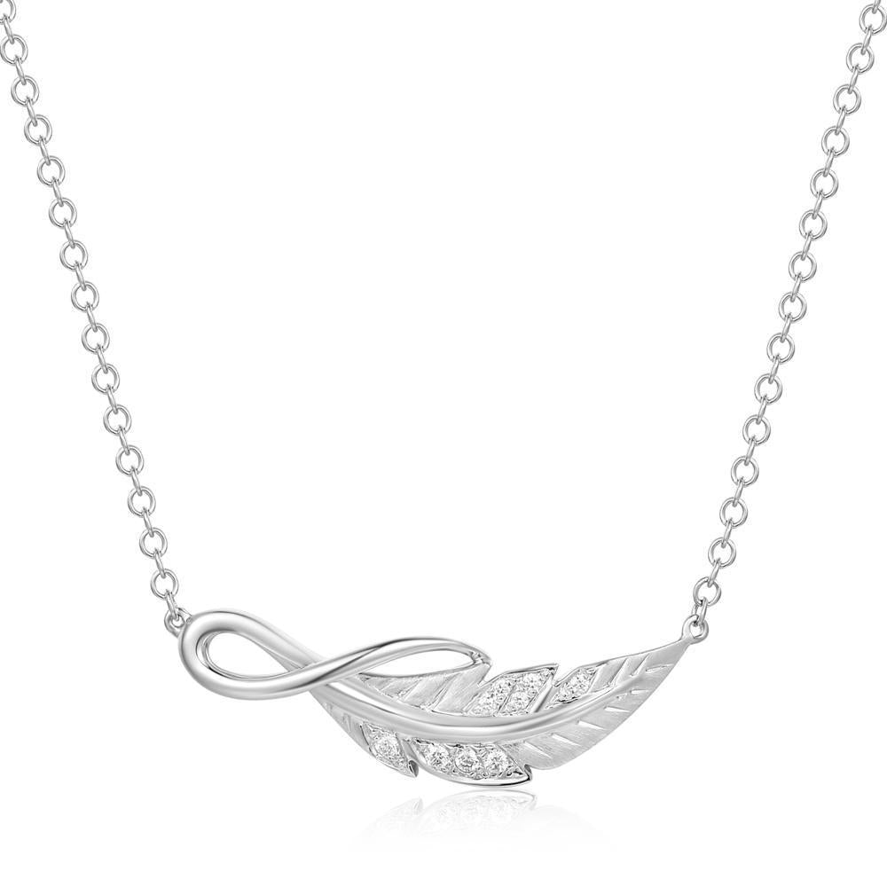 Leaf Necklace in 18k White Gold with Diamonds (0.037ct) Necklace IAD