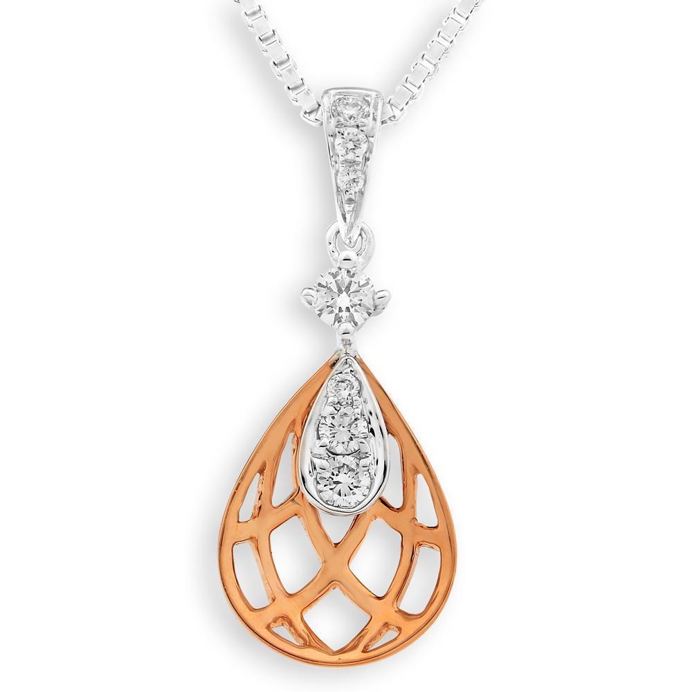 Leaf Pendant in 18k Rose & White Gold with Diamonds (0.108ct) Pendant IAD