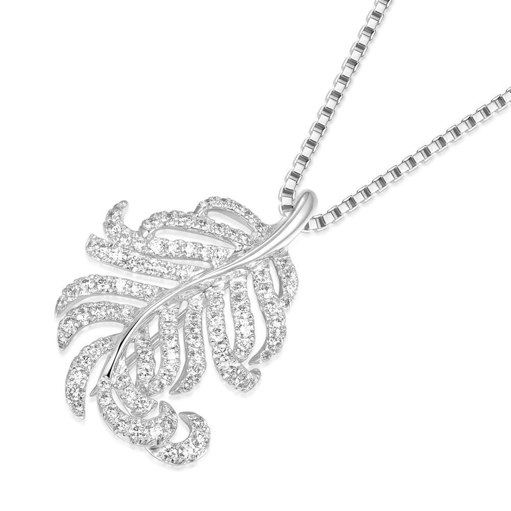 Leaf Pendant in 18k White Gold with Diamonds (0.951ct) Pendant IAD