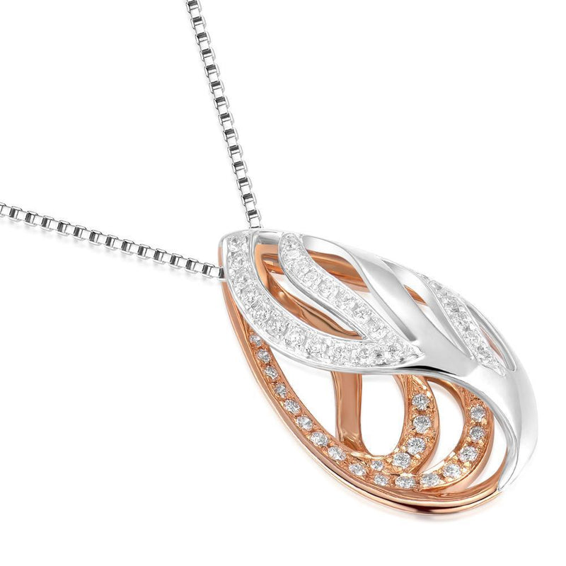 Leaf Pendant in 18k White & Rose Gold with Diamonds (0.209ct) Pendant IAD