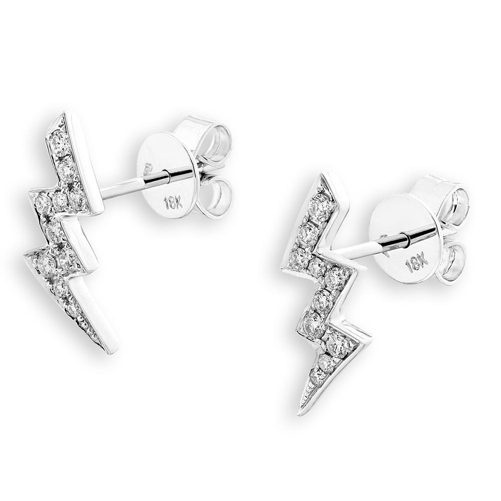 Lightning Bolt Earrings in 18k White Gold with Diamonds (0.208ct) Earrings IAD