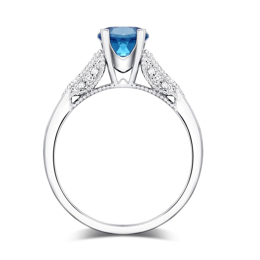 London Blue Topaz (1.2ct) Ring in 14k White Gold with Diamonds (0.14ct) 14K Gold Engagement Rings Oanthan