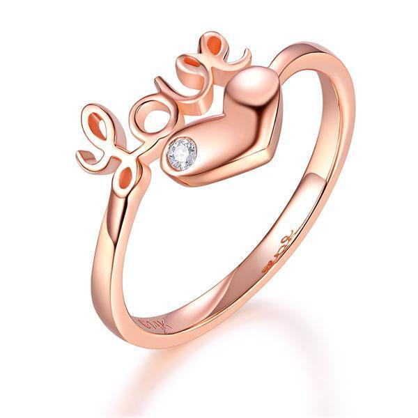 Love Heart Ring in 14k Rose Gold with Diamond (0.015ct) Women Wedding Bands Oanthan 14k White Gold US Size 4