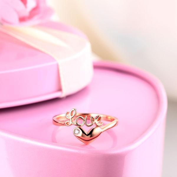 Love Heart Ring in 14k Rose Gold with Diamond (0.015ct) Women Wedding Bands Oanthan