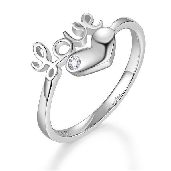 Love Heart Ring in 14k White Gold with a Diamond (0.01ct) Her Wedding Band Oanthan 14k White Gold US Size 4