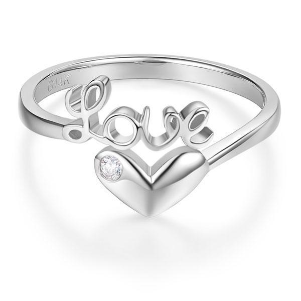 Love Heart Ring in 14k White Gold with a Diamond (0.01ct) Her Wedding Band Oanthan
