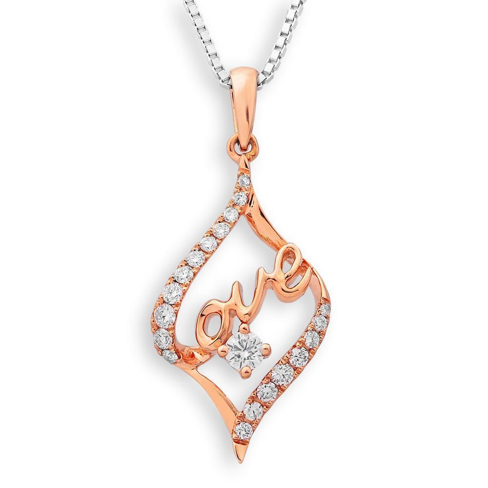 Love Pendant in 18k Rose Gold with Diamonds (0.223ct) Pendant IAD