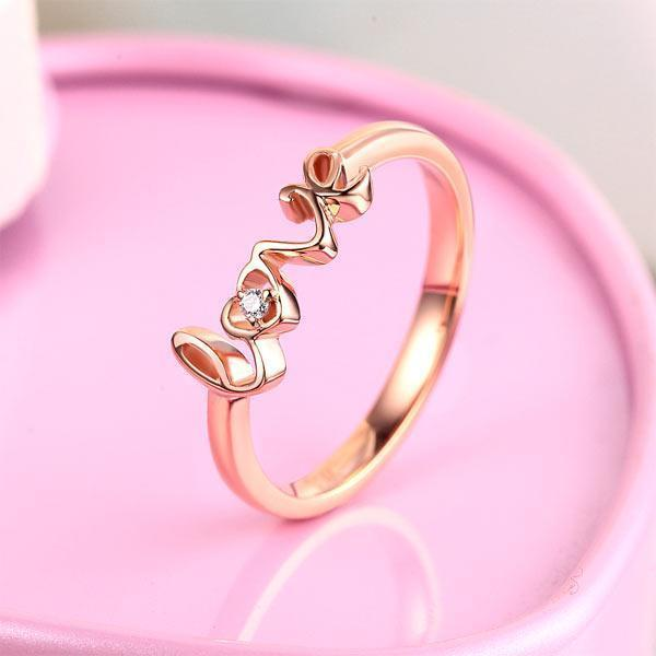 Love Ring in 14k Rose Gold with Diamond (0.013ct) Women Wedding Bands Oanthan