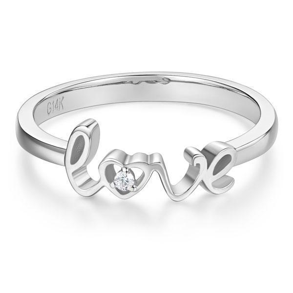 Love Ring in 14k White Gold with Diamond (0.1ct) Women Wedding Bands Oanthan