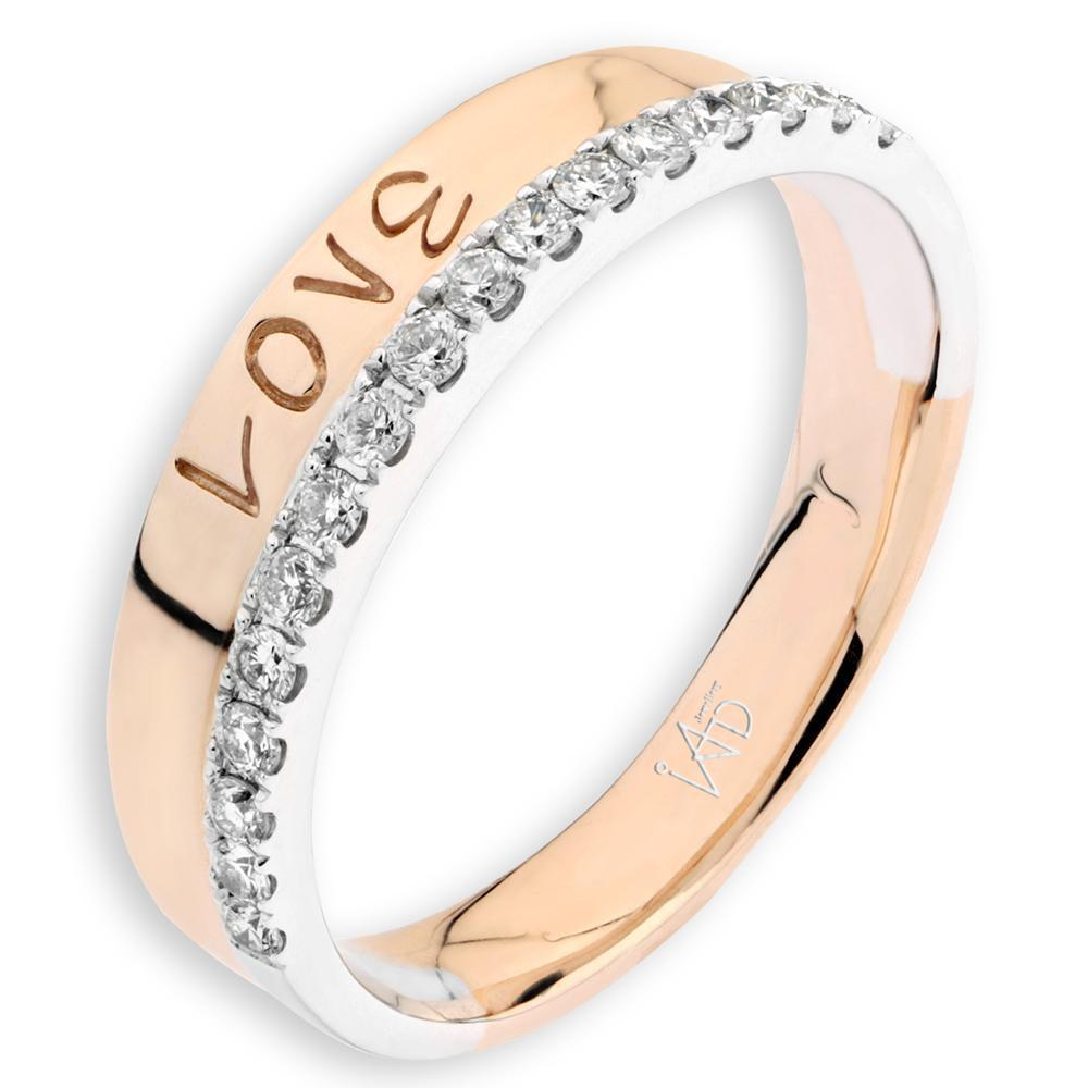 Love Ring in 18k White & Rose Gold with Diamonds (0.195ct) Ring IAD