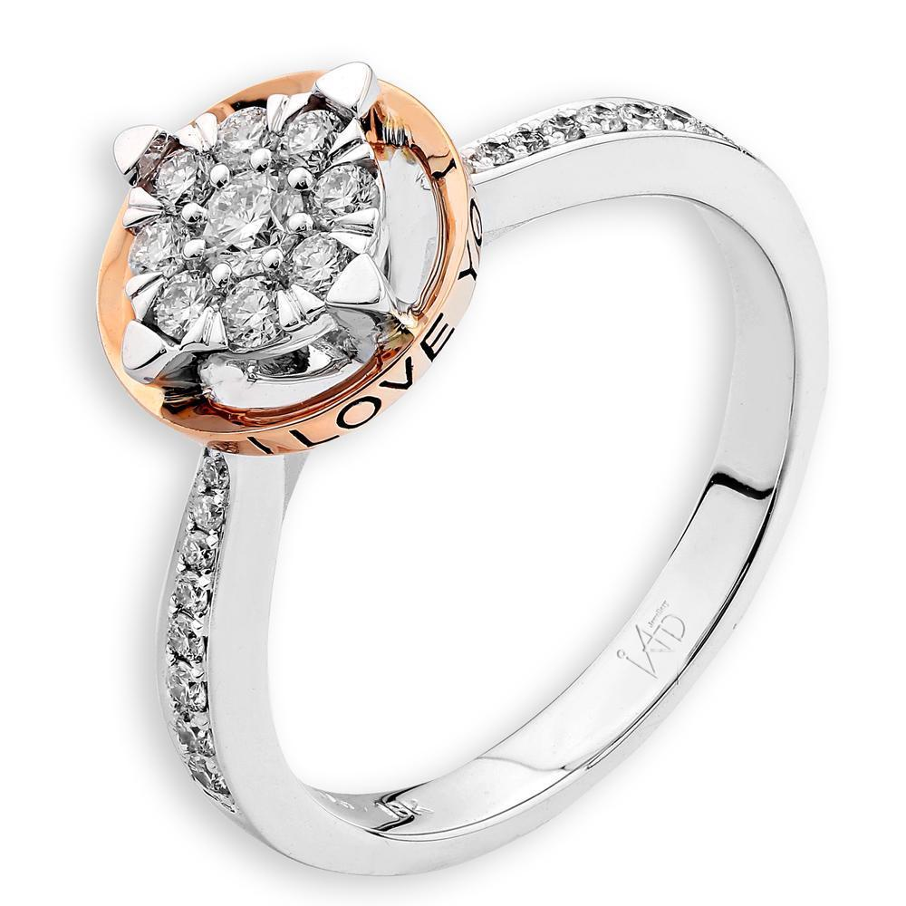 Love Ring in 18k White & Rose Gold with Diamonds (0.326ct) Ring IAD