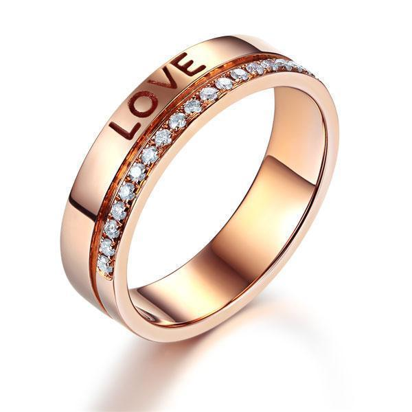 Love Wedding Band in 14k Rose Gold with Diamonds (0.12ct) Women Wedding Bands Oanthan 14k White Gold US Size 4