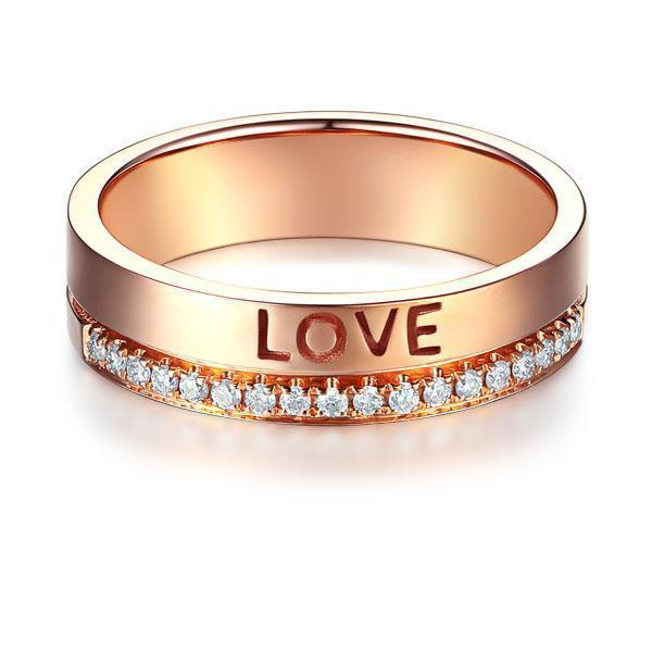 Love Wedding Band in 14k Rose Gold with Diamonds (0.12ct) Women Wedding Bands Oanthan