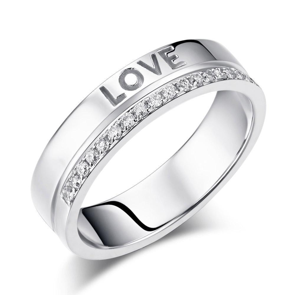 Love Wedding Band in 14k White Gold with Diamonds (0.12ct) Women Wedding Bands Oanthan 14k White Gold US Size 4