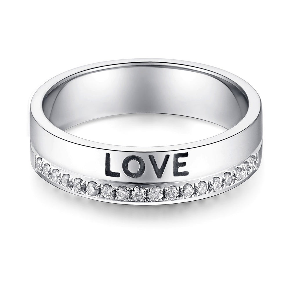Love Wedding Band in 14k White Gold with Diamonds (0.12ct) Women Wedding Bands Oanthan